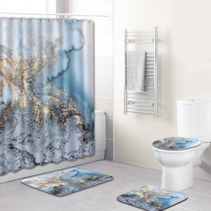 Bathroom sets 4 pieces waves/seafoam