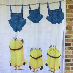 Shower curtain mischievious minions watching clothes dry