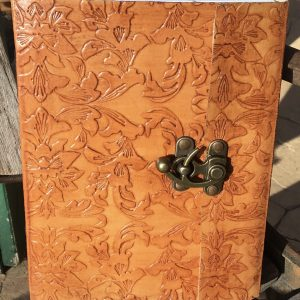 Genuine Leather Journals - Flower Design 20 x 16cm Light Finish