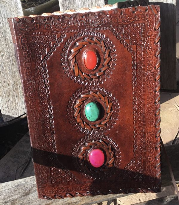 Genuine Leather Journals- 3 vertical chakra stones/leather strip closure