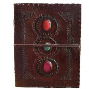 Leather Journals Cabuchon x 3 Vertical Design 25 x 18cm (10 x 7inches)