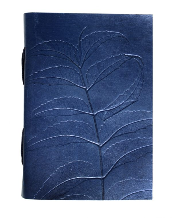 Leather Journals Blue Leaf Design size 20 x 15cm {8 x 6inches}