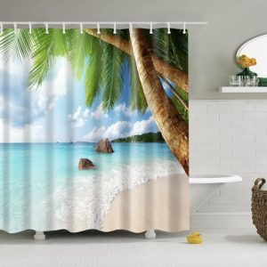 Shower curtains- sea/coast themes- beach with palm to right