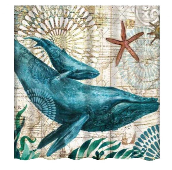 Showercurtains sea animals whale