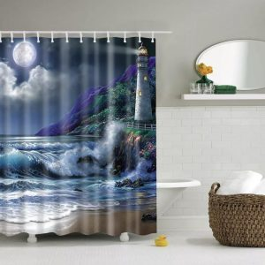 Shower curtains sea/coast themes- full moon