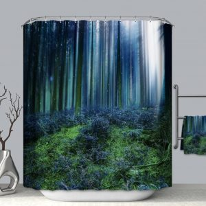 Shower Curtains Forest + Stone Series - forest at night