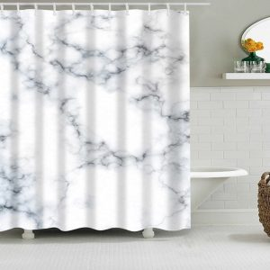 Shower Curtains Forest +Stone grey-blue marble