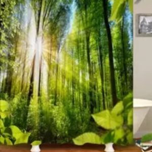 Shower Curtains Forest+stone forest with Sunbeams- 100904078555183 -gq211