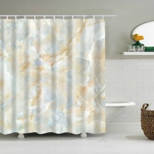 Shower Curtains forest+Stone grey-yellow marble