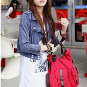 Large casual totebag with leather details-red