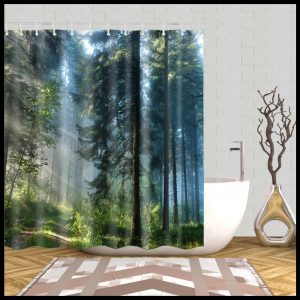 Shower curtain forest + stone-afternoon sun in pine trees- 72041277