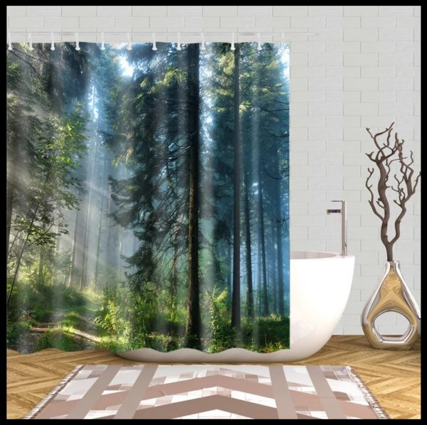 Shower curtain forest + stone-afternoon sun through pine trees