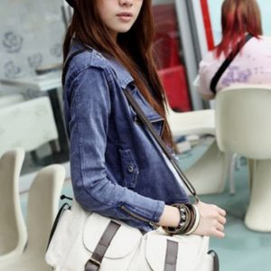 Large casual totebag with leather details