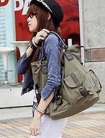 Large casual ToteBags with Leather details- army green