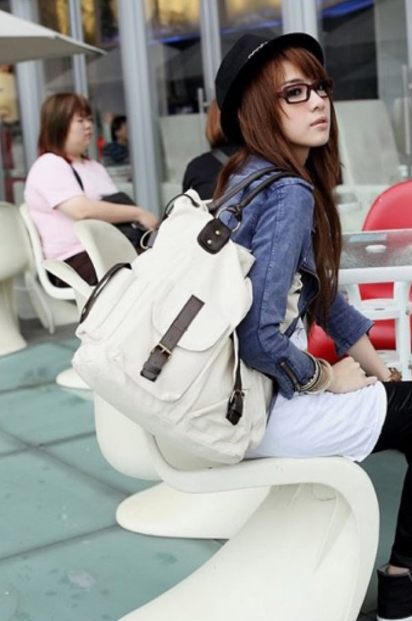 Large Canvas ToteBag with Leather details-white