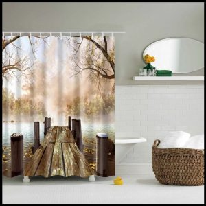 Shower curtains forest + stone series- the lake pier- 72034832