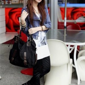 Large casual totebag with leather details-black