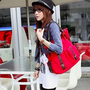 Large CasualToteBags with Leather details-red
