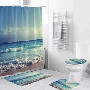 S/C Bath Sets 4 pieces- Beach Scene Wavebreak 1